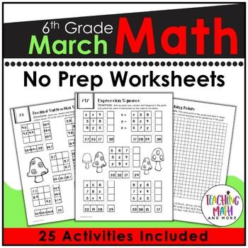 March NO PREP Math Packet - 6th Grade