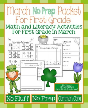 March No Prep Math and Literacy Packet for First Grade (Co