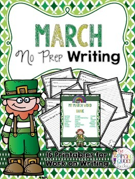 March No Prep Writing Printables for Your Daily Five Work