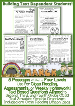March Passages w/ CCSS Text Based Questions {Weekly Homewo