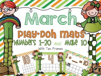 March Play-Doh Mats {1-20 and Make 10}