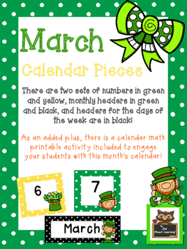 March Polka Dot Calendar Set