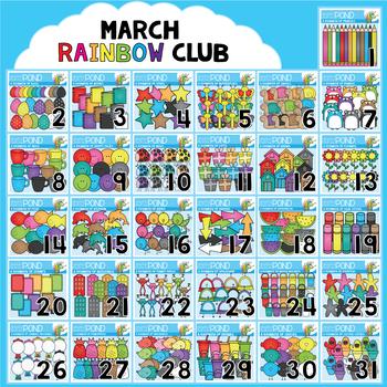 March Rainbow Club Clipart Bundle