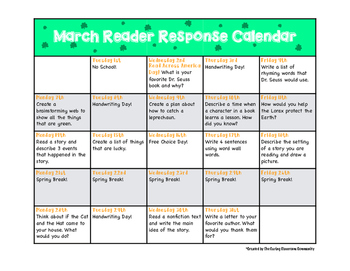 March Reader Response Calendar