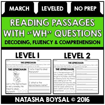 """March Reading Comprehension Passages with """"WH"""" Questions ("""