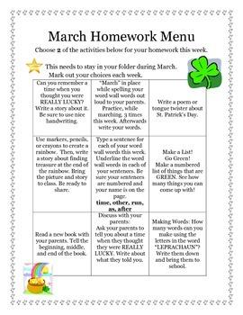 March Reading Homework Menu