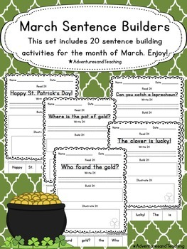 March Sentence Builders {morning work, word work, daily 5,
