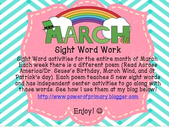 March Sight Word Work