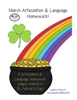 March Speech & Language Homework Freebie!