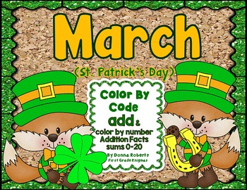 March (St. Patrick's Day) Color By Code Addition sums 0-20
