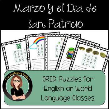 March & St. Patrick's Day Puzzles!  5 Word Puzzles in grid