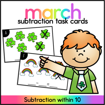 March Subtraction Center - Subtraction within 10