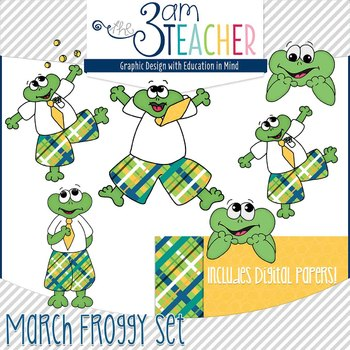 March Themed Froggy Clipart Set