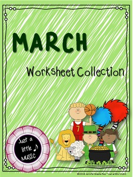 March Themed Worksheet BUNDLE for practicing rhythm & melo