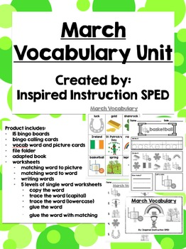 March Vocabulary Unit for Early Elementary or Students wit