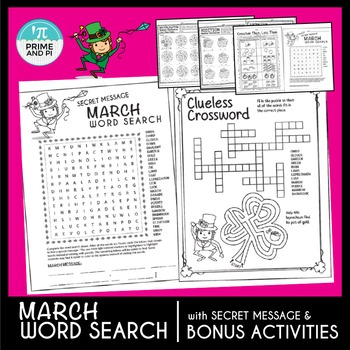 St. Patrick's Day / March Word Search + numbers sentences,