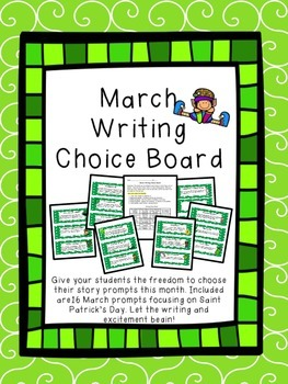 March Writing Choice Board Prompts