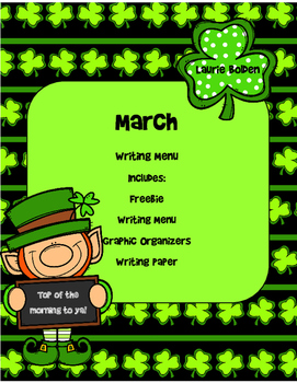 March Writing Menu with Graphic Organizers and Paper. Free