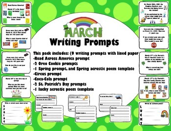 March Writing Prompts with Lined Paper