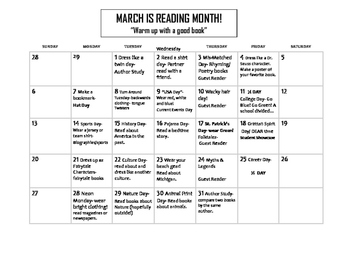 March is Reading Month Calendar