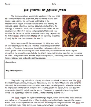 Marco Polo - An Introduction and His Importance