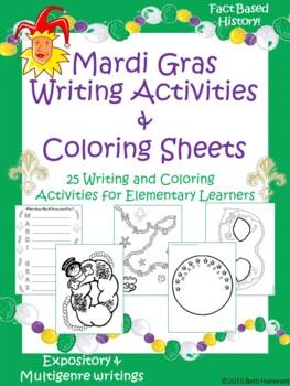 Mardi Gras Writing Activities and Coloring Sheets