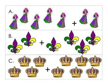 Mardi Gras Addition Write the Room - Kindergarten/First Grade