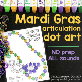 Mardi Gras Articulation Dot Art {all sounds & NO prep!}
