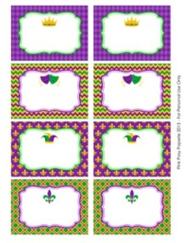 Mardi Gras Classroom Decor Bin Tag Labels