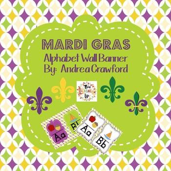 Mardi Gras Colors ABC Wall Banner Strip