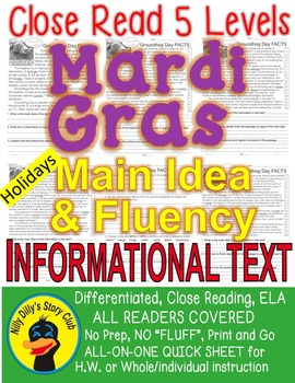 Mardi Gras FACTS Differentiated 5 level Close Read passage