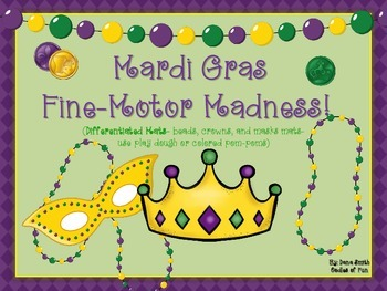 Mardi Gras Fine-Motor Madness! (crowns, beads and mask mat