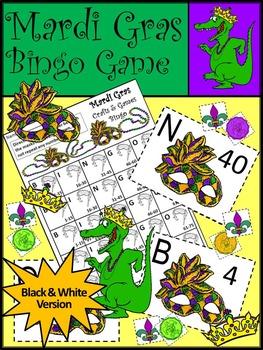 Mardi Gras Math Activities: Mardi Gras Bingo Game Activity Packet