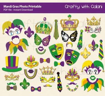 Mardi Gras Photo Props, Masquerade Party Photo Props, Mard