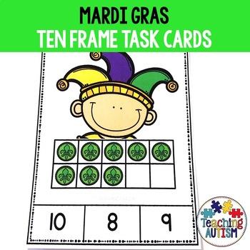 Mardi Gras Ten Frame Task Cards