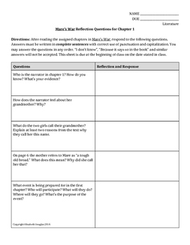 Mare's War Reflection Questions Chapter 1