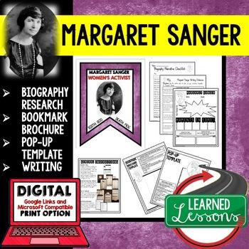 Margaret Sanger Biography Research, Bookmark Brochure, Pop