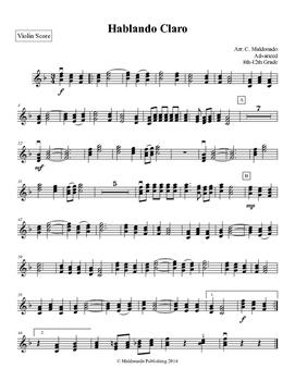 Mariachi: Hablando Claro-Advanced Violin Score
