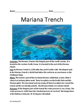 Mariana Trench - deepest part of the ocean - review articl