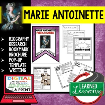 Marie Antoinette Biography Research, Bookmark Brochure, Po
