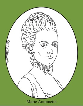Marie Antoinette Clip Art, Coloring Page or Mini Poster