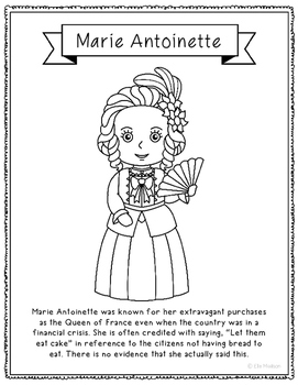 Marie Antoinette Coloring Page Activity or Poster with Min