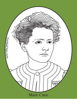 Marie Curie Clip Art, Coloring Page or Mini Poster