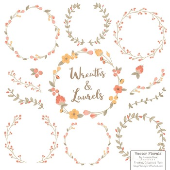 Marina Antique Peach Floral Wreaths & Laurels