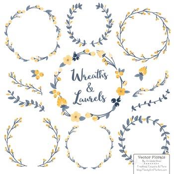 Marina Navy & Lemon Floral Wreaths & Laurels