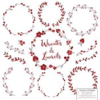 Marina Ruby Red Floral Wreaths & Laurels