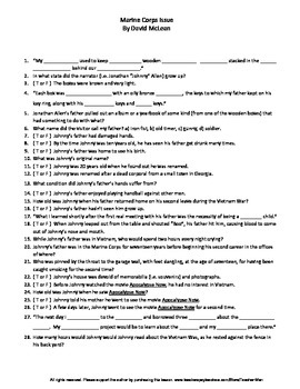 Marine Corps Issue David McLean Guided Reading Worksheet C