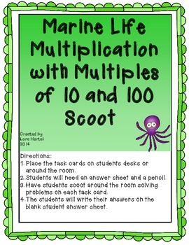 Marine Life Multiplication Multiples of 10 and 100 Scoot