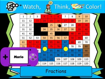 Mario Inspired Fractions Practice - Watch, Think, Color My