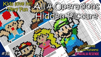 Mario Pack - Mystery Picture - 4 operations - Four level d